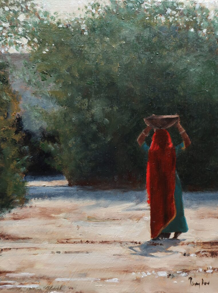 """Return to the Village, Rajasthan"" Oil on board 