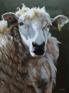 Oil painting of a sheep in portrait format