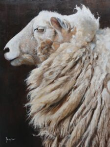 Oil painting of a sheep in profile
