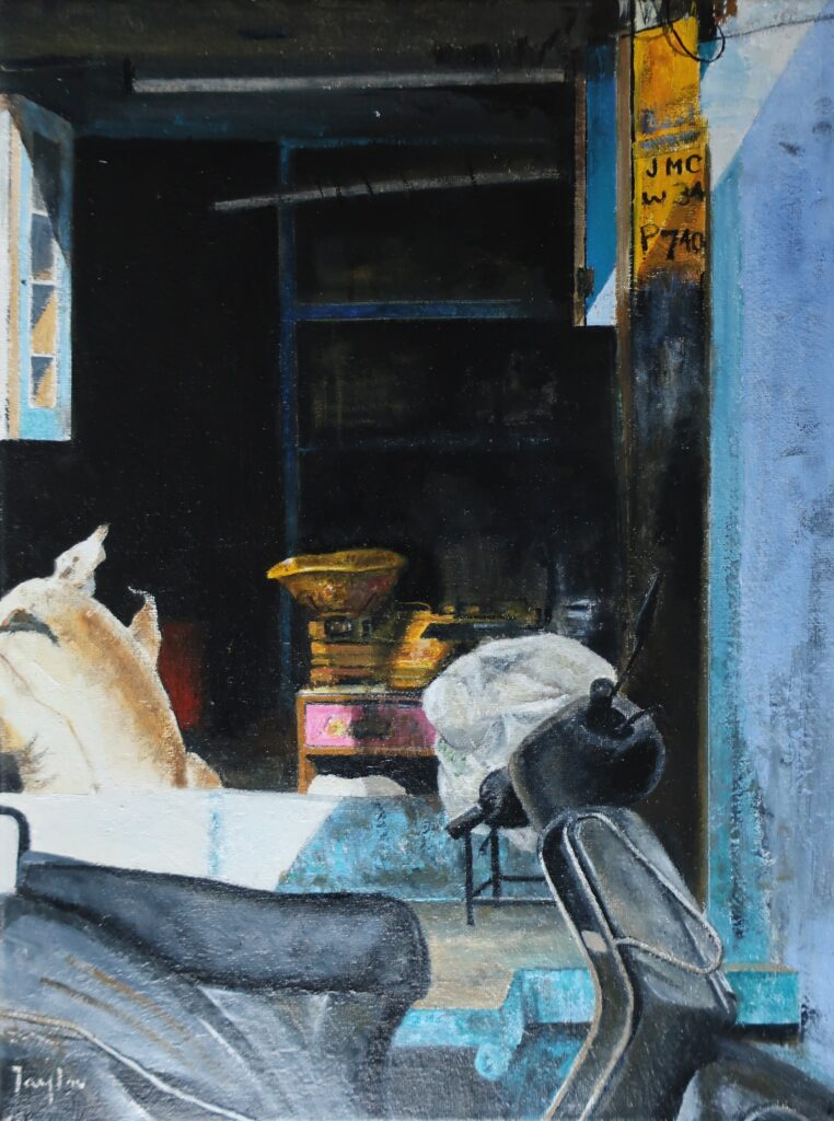 """Shop Scales, Jodhpur"" Oil on canvas 