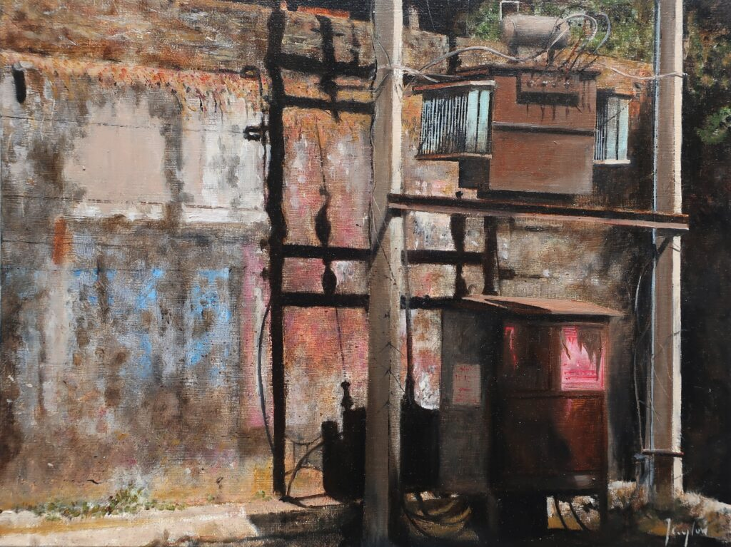 """Street Shadows Udaipur"" Oil on board 