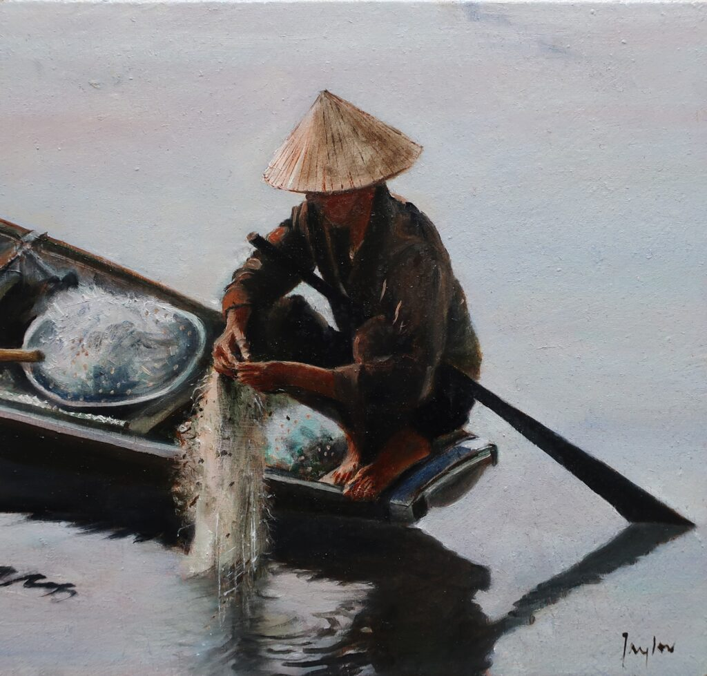 """The Perfume River Hue"" Oil on board 