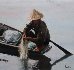 Oil painting of a fisherman on the Perfume River Hue Vietnam