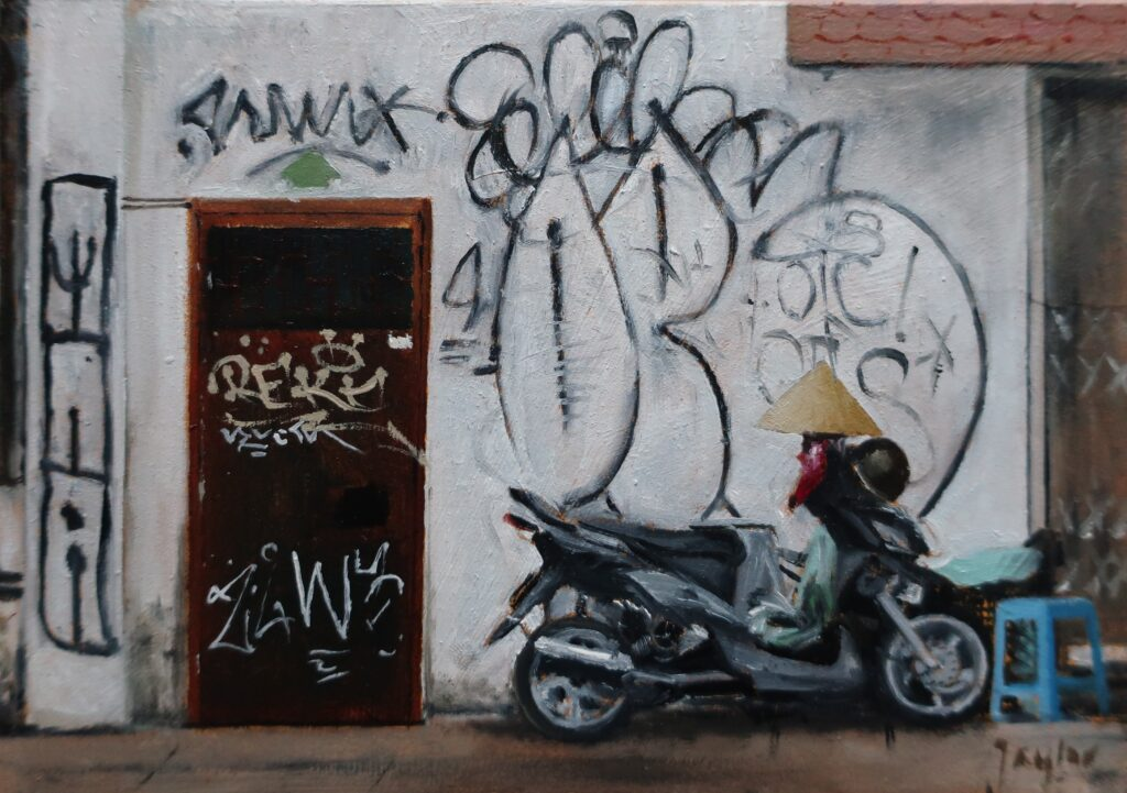 """Vietnam Graffiti"" Oil on board 