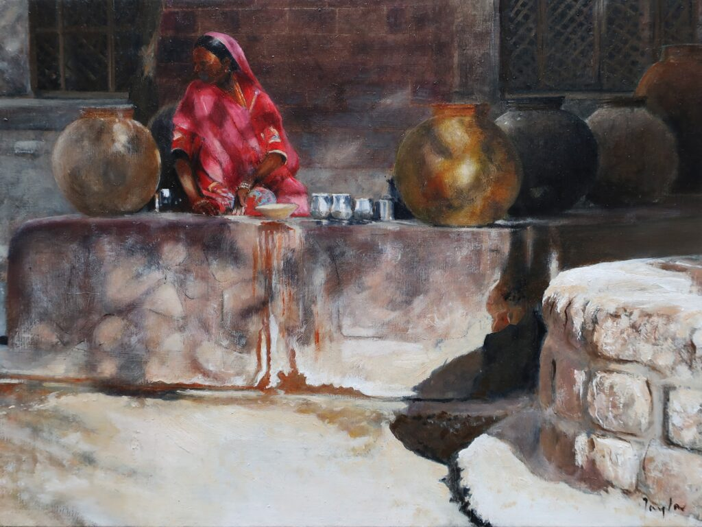 """Washing Pots, Bhenswara"" Oil on board 